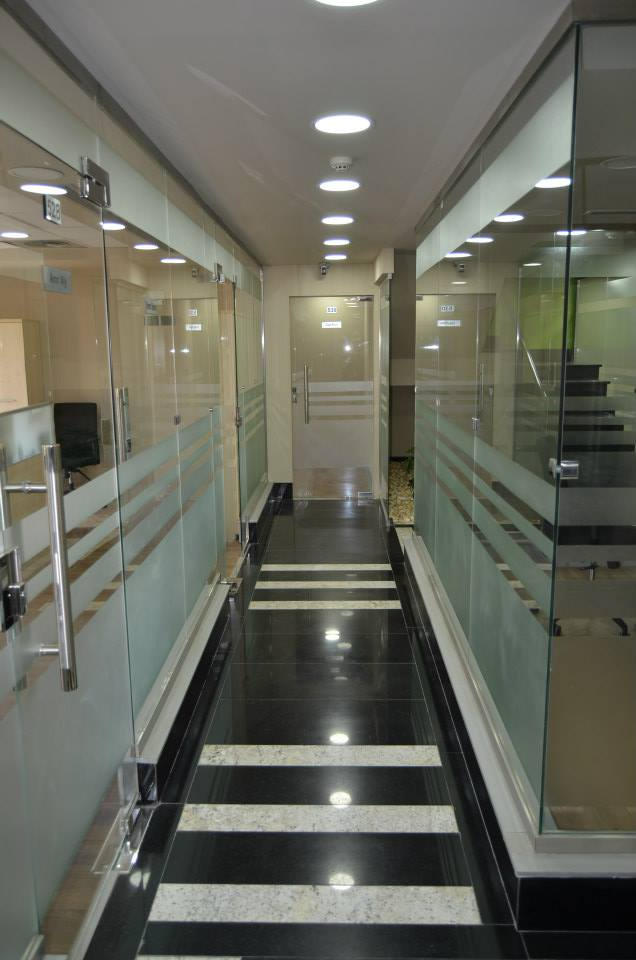 Corridor with glass